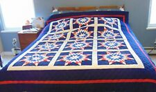 Hand Made All American Red, White & Blue Quilt  66 x 85