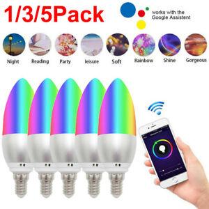 E14 RGB Dimmable Wifi Smart Light Bulb App Control For Amazon Alexa/Google Home