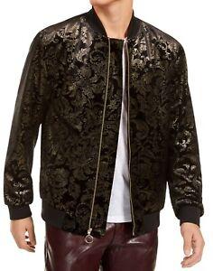 INC Mens Bomber Jacket Black Gold Large L Metallic Damask Print Velvet $129 056