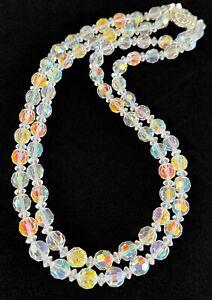 Vintage Aurora Borealis Crystal Double Strand Necklace ~ Rhinestone Clasp
