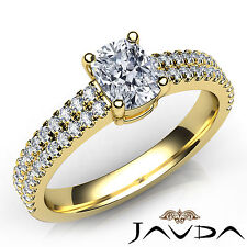 Cushion Diamond Engagement U Shape Prong Ring Gia F Vvs2 18k Yellow Gold 1.01Ct