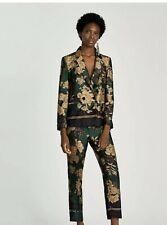 ZARA Blazer Green & Gold Floral Printed Double Breasted Jacket & Trousers Size M