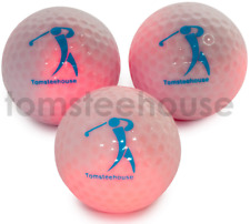 """5 x NEW Glow in the Dark Golf Balls (RED LED) """"tomsteehouse"""" balls"""