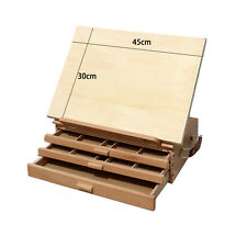 3 Layers Wooden Artist Table Top Drawing Easel Stand Folding Sketch Box Painting