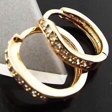 FSA126 REAL 18K YELLOW GF GOLD DIAMOND SIMULATED HUGGIE STUD HOOP EARRINGS