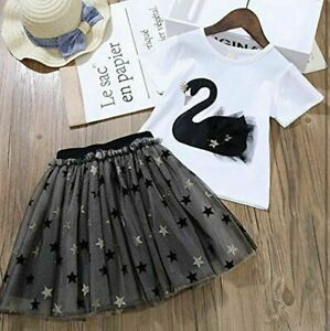Baby Girl Toddler Outfits Tutu Dress Clothes age 2 to age 9 black and white