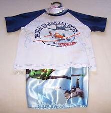 Disney Planes Boys White Blue Printed Cotton Satin Pyjama Set Size 4 New
