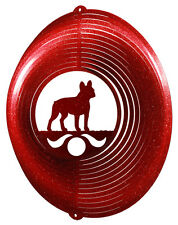 French Bulldog RED Metal Swirly Sphere Wind Spinner *NEW*