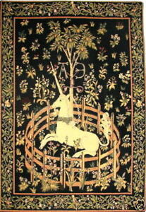 """UNICORN IN CAPTIVITY 19"""" X 29"""" FULLY LINED BELGIAN TAPESTRY WALL HANGING"""