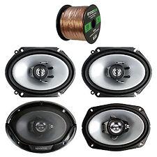 "6x8"" 250W 2-Way Kenwood Speakers, 6x9"" 400W 3-Way Speakers, 50FT Speaker Wire"