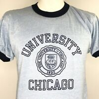 Champion Mens Ringer T Shirt The University Of Chicago 50/50 Vintage 80s New L