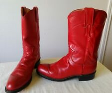 Authentic JUSTIN red Leather COWBOY/ROPER Boots Women's Size 4.5 B Made in U.S.