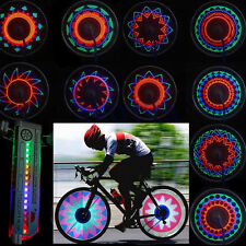 Cycling Bike Bicycle Tire Valve 30 kinds Flash Spoke Wheel 16 LED Light Lamp NEW