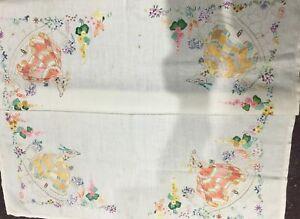 Vintage Embroidered Small Tablecloth Crinoline Ladies