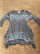 Women's Sundance Gray/Blue Striped Tunic (slightly sheer) - Sz S