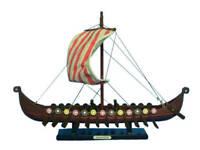 """Viking Drakkar 14"""" - Wood Longship - Nordic Vessel - Model Viking Ship - Oseberg"""