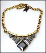 Elegant Signed Henri Bendel CROSBY Black  Crystal Choker Necklace NWT