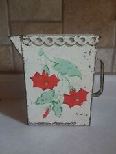 TIN PITCHER Rustic Country Vase Farmhouse Display Flowers Garden Retro CUTE!