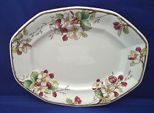 "13"" Oval Serving Platter Villeroy Boch PORTOBELLO Mauve Brown Flowers Multiside"