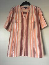 Woman Within Womens Plus Size 30W Striped Cotton Wrinkle Short Sleeve Shirt New