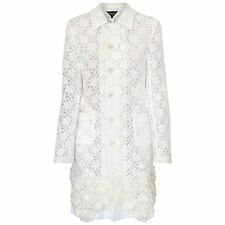 COMME DES GARCONS long white and ivory coat sheer lace crochet flower jacket M