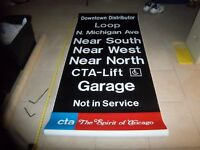 15 FT LONG CHICAGO SUBWAY SIGN CTA SOLDIER FIELD I OF U MEDICAL CENTER ROLL SIGN