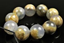 Earthy Appeal ~ Unique Rare Skinned Blue Chalcedony Round Bead - 11mm - 4994A