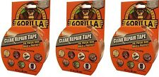 3x Gorilla Glue Repair Tape with Gloss Finish - Clear - 8.2m - FREE P&P