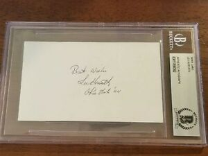 Les Horvath Signed 3x5 Index Card Beckett Encapsulated Ohio State Buckeyes '44