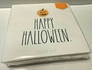 "Rae Dunn~HAPPY HALLOWEEN~40 Count Pumpkin Luncheon Napkins~13"" x 13""~NIP"