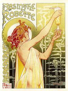 Advert Absinthe Robette Belgium Classic Food Drink Vintage Canvas Art Print