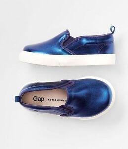 Baby Gap NWT Toddler Navy Blue Metallic Sneakers Tennis Shoes 5 $25