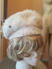 Vintage 1940's Ladies cream Pill Box Hat Boston Store Milwaukee rabbit fur