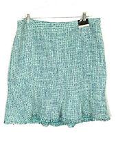 Lane Bryant Skirt Tweed Acrylic Fringe Blue Silver Plus Size Womens 24 NWT $49
