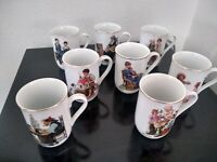 Vintage Norman Rockwell's Cup Museum Collection coffee mugs Gold trim set of 8
