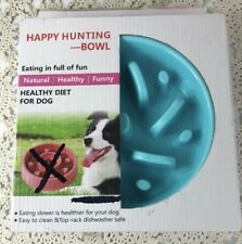 New listing Happy Hunting Dog Bowl New In Box Fan Pattern Eating Slower