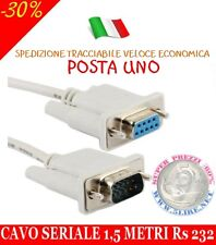 CAVO SERIALE RS232 9 POLI MASCHIO/FEMMINA - MT. 1,5 CAVO IN OFFERTA