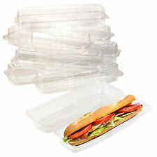 """250 x 12"""" Baguette Clear Plastic Containers Cases Hinged Sandwich Box Packaging"""