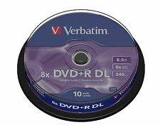 VERBATIM DVD+R 8,5 GB 8x Speed 240MIN registrabili Dual Layer SPINDLE PK 10 (43666)