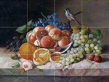 bird and fruit blackberry peach orange Tile Mural Backsplash Ceramic 17x12.75