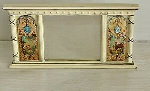 1:12 Scale Miniature Cream & Gilt Finish Ornate Overmantel Mirror