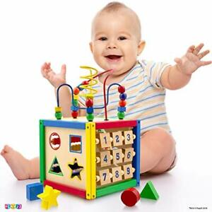 Activ. Cube Baby Includes Shape Sorter Count Beads, Numb. Sliding Shapes Gift