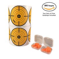 Shooting Target Stickers 300 Pcs Neon Orange/Green 3 Inch Adhesive w/Earplugs