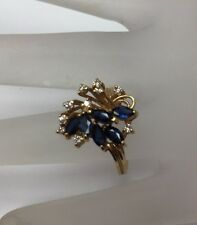 14K Yellow Gold Real  Blue Sapphire & 0.20CT Diamond Cluster Ring Size 6 & 3.8gr
