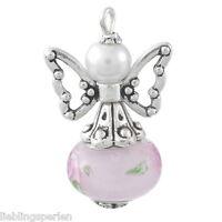 5 Charm Anhänger Schutzengel Rosa Perlen Gastgeschenk Geburtstag #4
