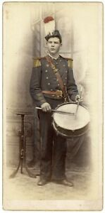 HAND COLORED DRUMMER ANTIQUE CARD MOUNTED PHOTOGRAPH MUSICIAN & VINTAGE DRUM