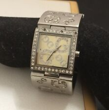 Authentic Guess Silver Rhinestone Quartz Watch In Great Working Condition