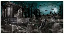 HALLOWEEN CEMETERY BANNER GRAVEYARD TOMBSTONE GHOST PARTY POSTER HAUNTED HOUSE