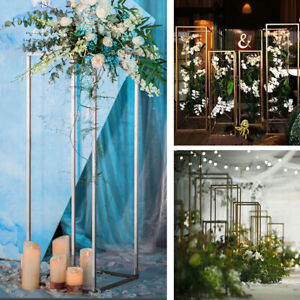 Cube Metal Geometric Flower Stand Pedestal Table Centrepiece Wedding Stage Decor