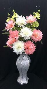 Beautiful Silver Crushed Diamond Vase with Flowers Arrangement, Home Decor 40CM.